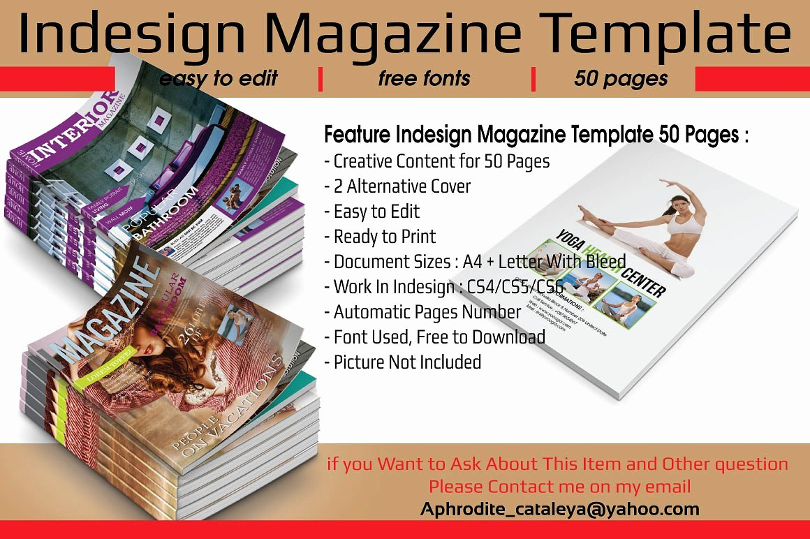 Indesign Magazine Template 50 Pages Magazine Templates