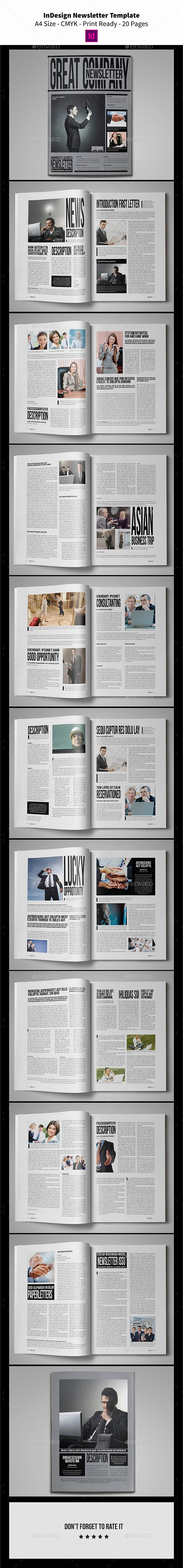 Indesign Newsletter Template 20 Pages Newsletters Print