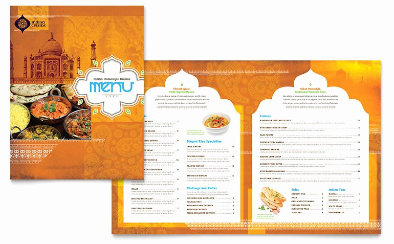 Indian Restaurant Menu Template Word & Publisher