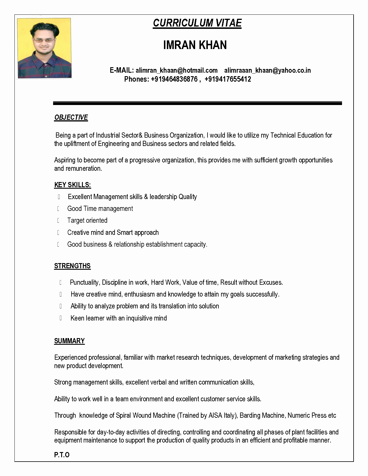 Indian Resume format In Word File Free Download Bongdaao