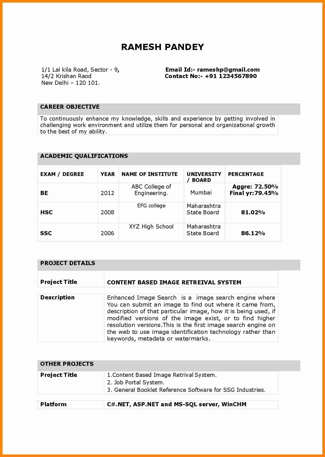 Indian Resume format In Word File Free Download Lovely