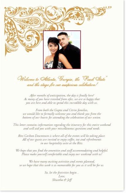 Indian Wedding Wel E Letter
