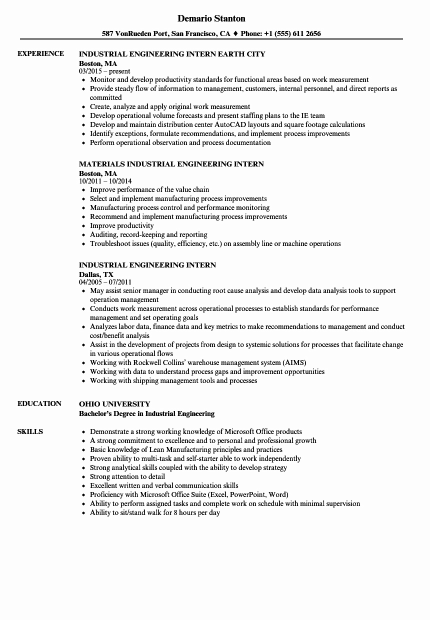 Industrial Engineering Intern Resume Samples