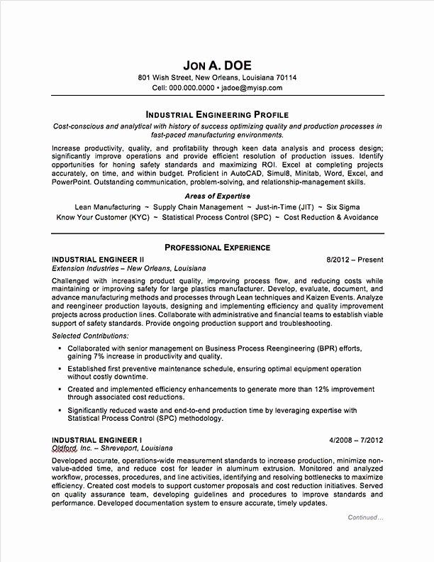 Industrial Engineering Resume Best Resume Gallery