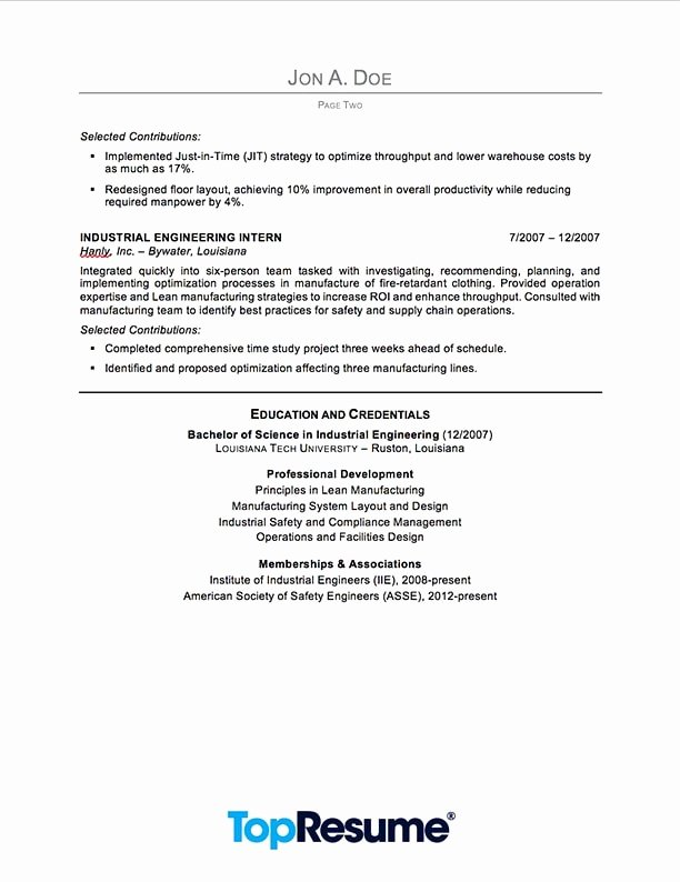 Industrial Engineering Resume Sample