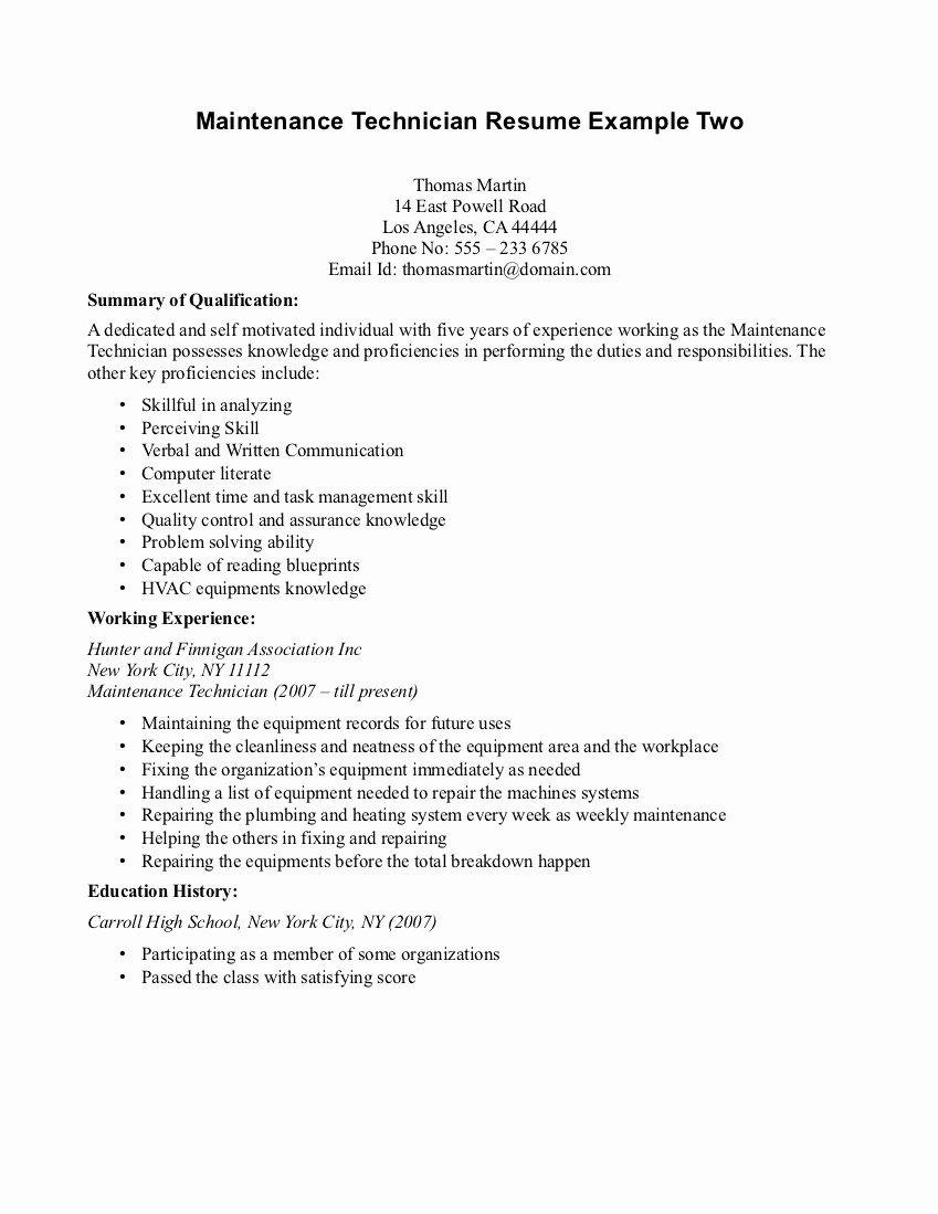 Industrial Maintenance Mechanic Resume Samples
