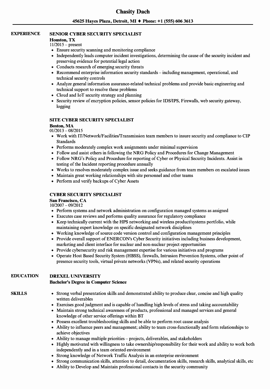 Industrial Security Specialist Sample Resume Procurement