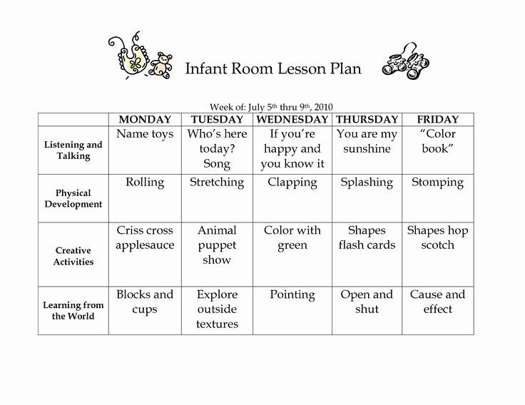 Infant Room Lesson Plan Westlake Childcare by Linzhengnd