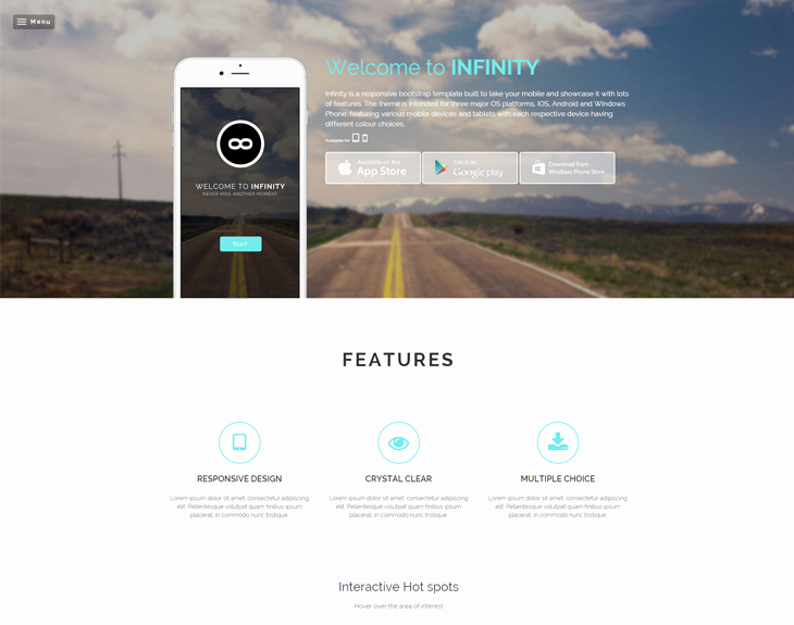 Infinity Free Responsive Mobile App Website Template