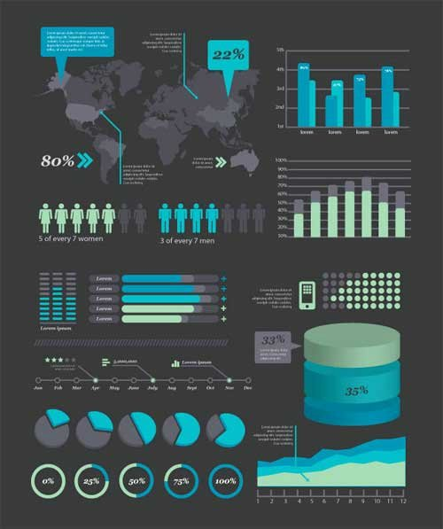 Infographic Template Kits In Editable Vector Psd format