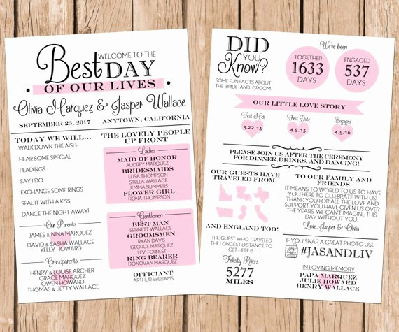 Infographic Wedding Program Fun Wedding Program Printable