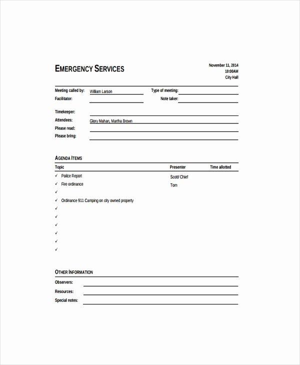 Informal Meeting Agenda Template 5 Free Word Excel