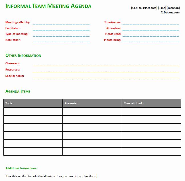 Informal Meeting Agenda Template Basic Dotxes