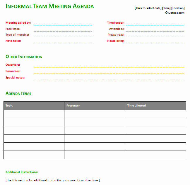 Informal Meeting Agenda Template with Basic format