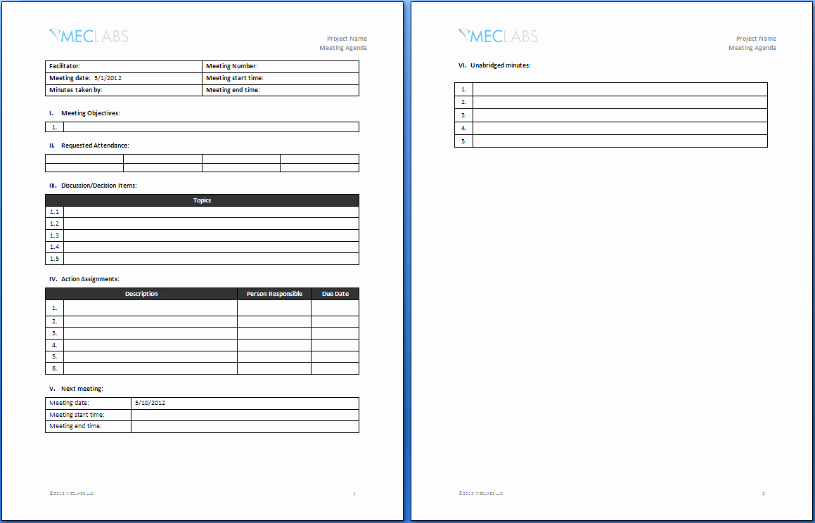 Informal Meeting Agenda Template Word Ms Fice How to