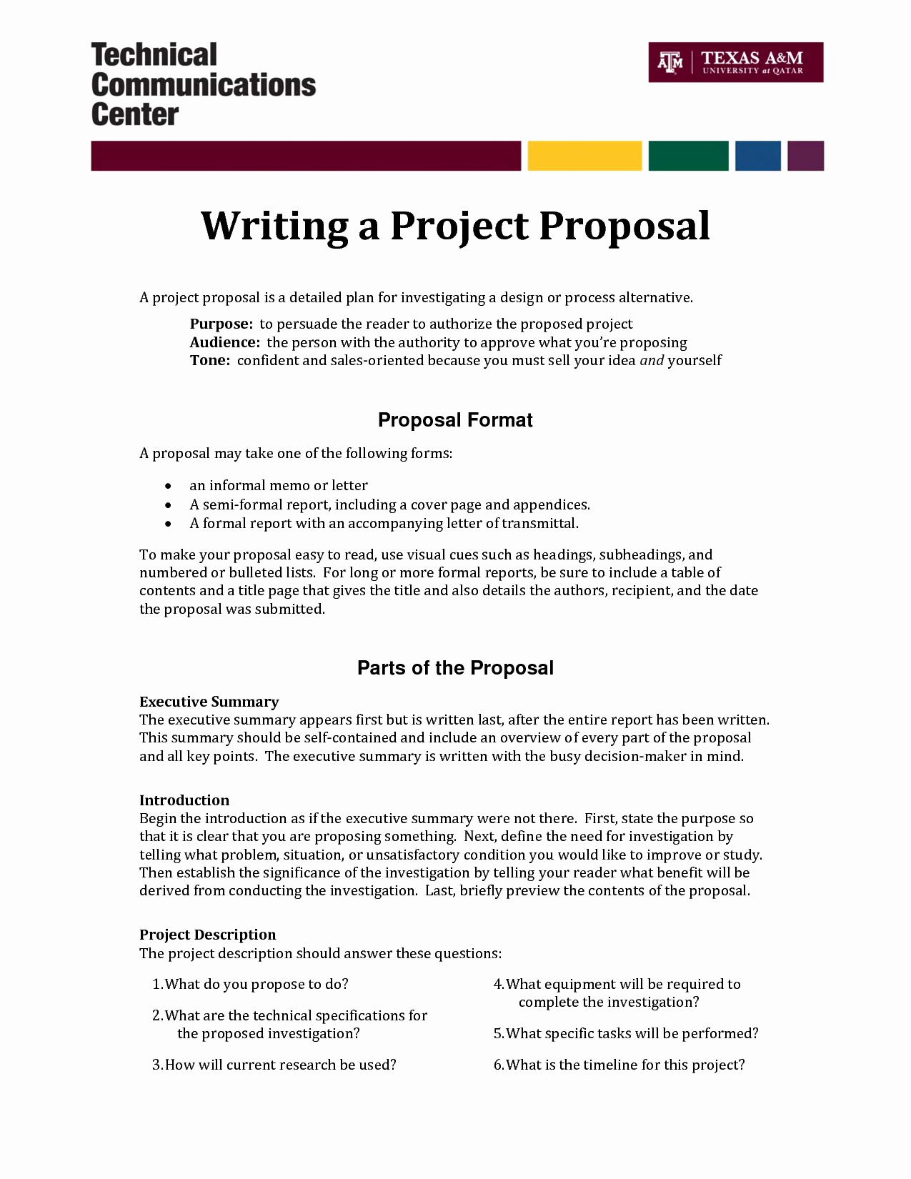 Informal Proposal Letter Example