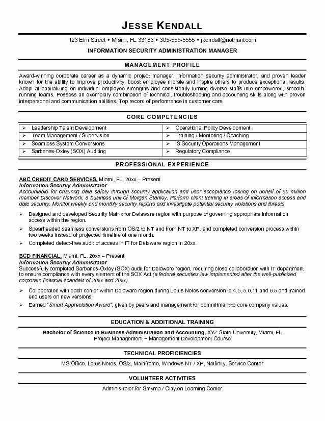 Information Security Resume Objective Examples