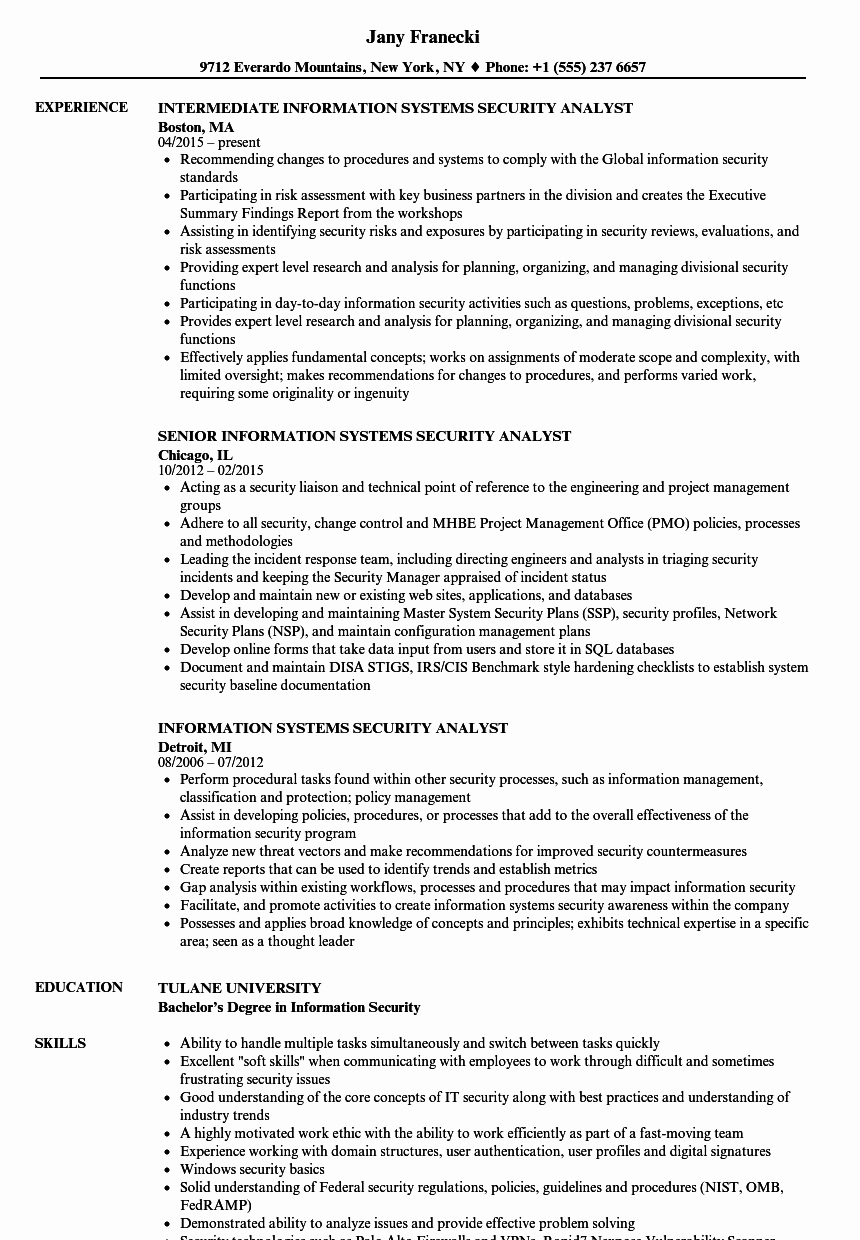Information Systems Security Analyst Resume Samples