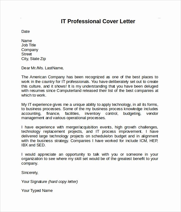 Information Technology Cover Letter Template 8 Download
