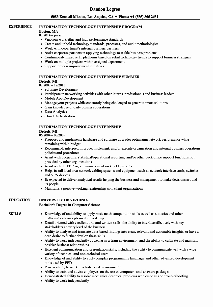 Information Technology Internship Resume Samples
