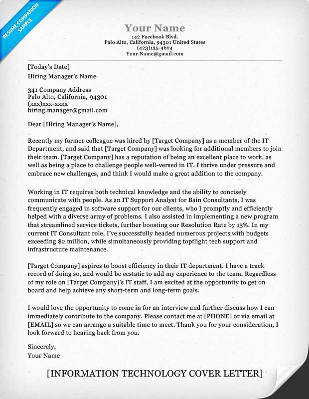Information Technology It Cover Letter Sample