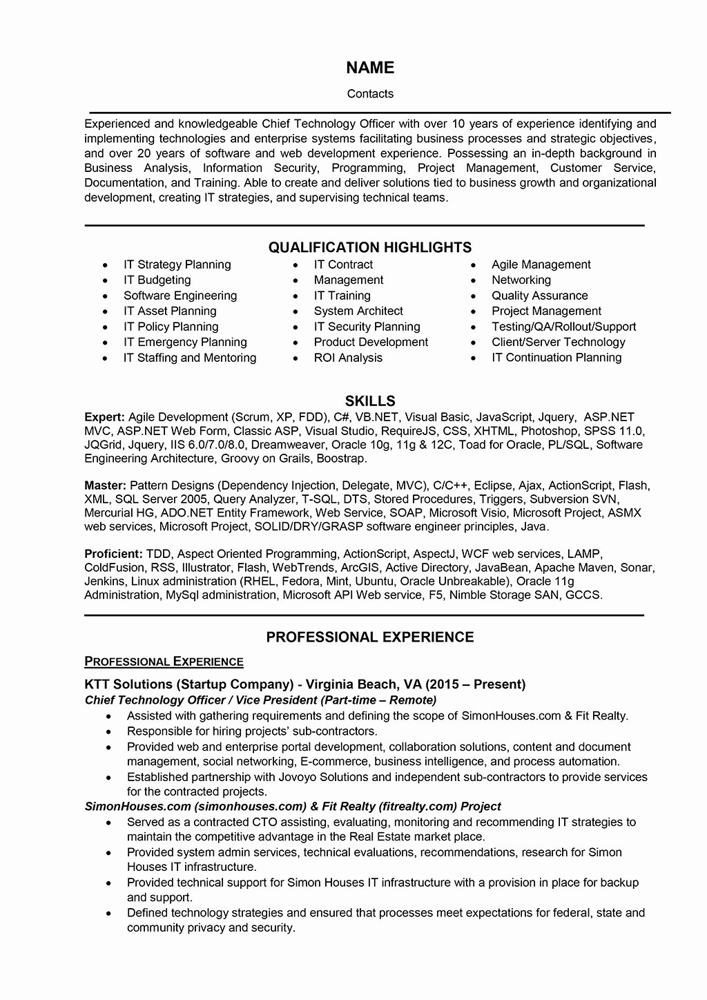 Information Technology Manager Resume