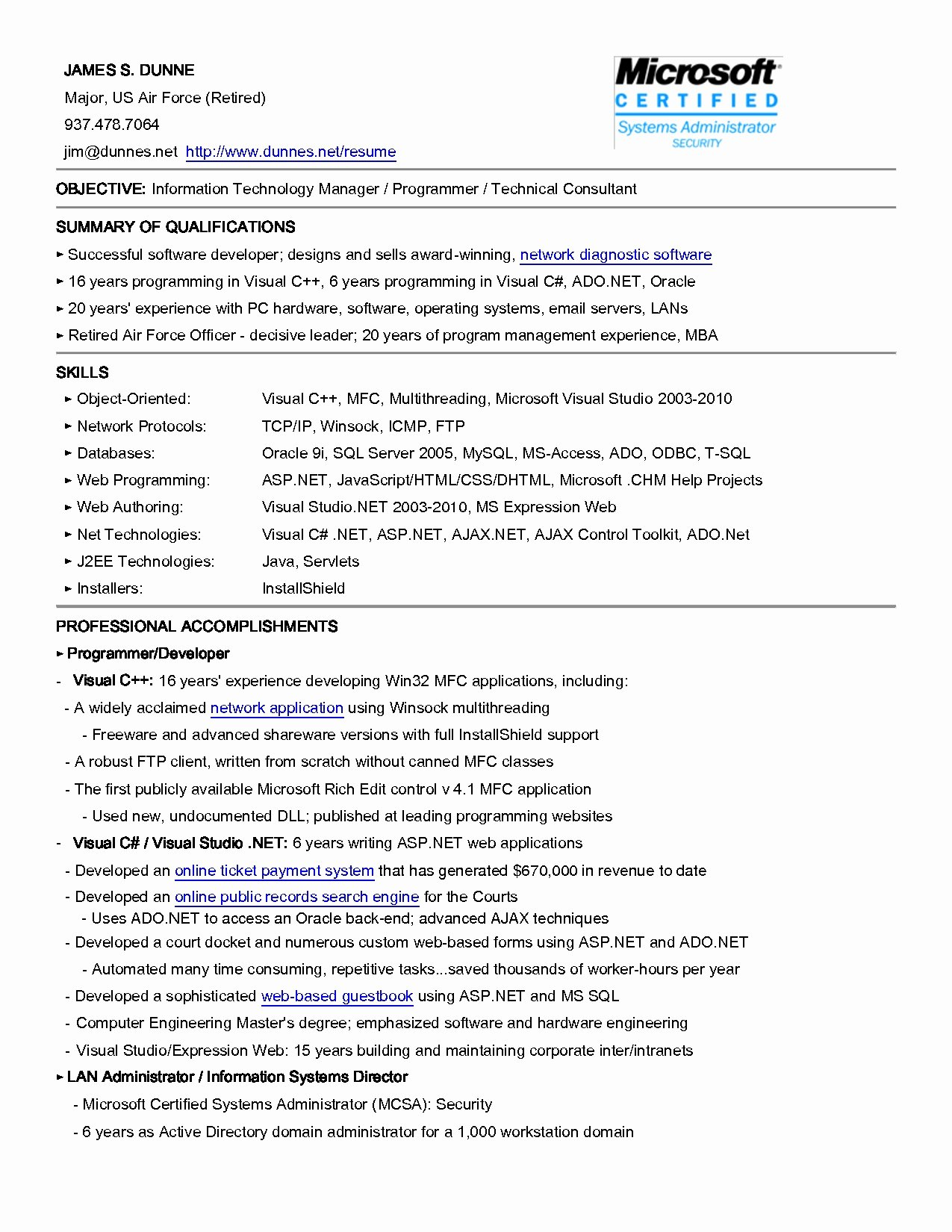 Information Technology Resume Objective Talktomartyb