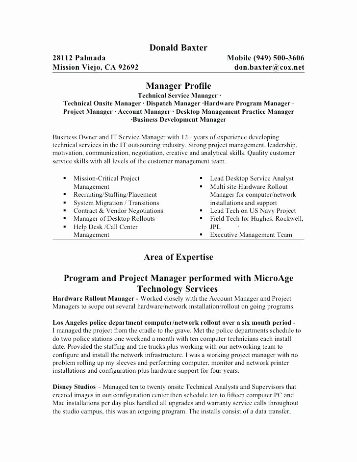 Infrastructure Project Manager Resume Example Examples