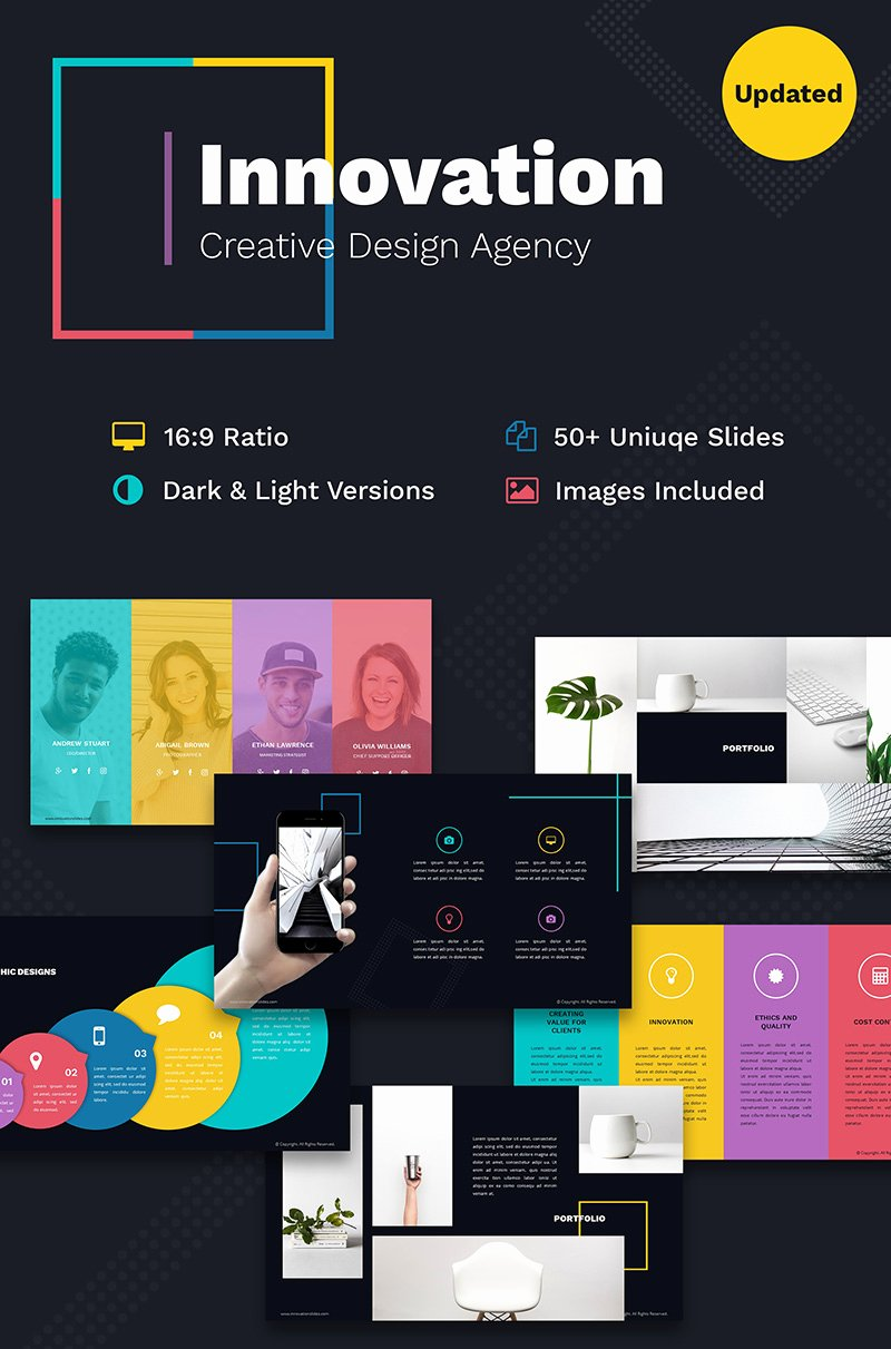 Innovation Creative Ppt for Design Agency Powerpoint