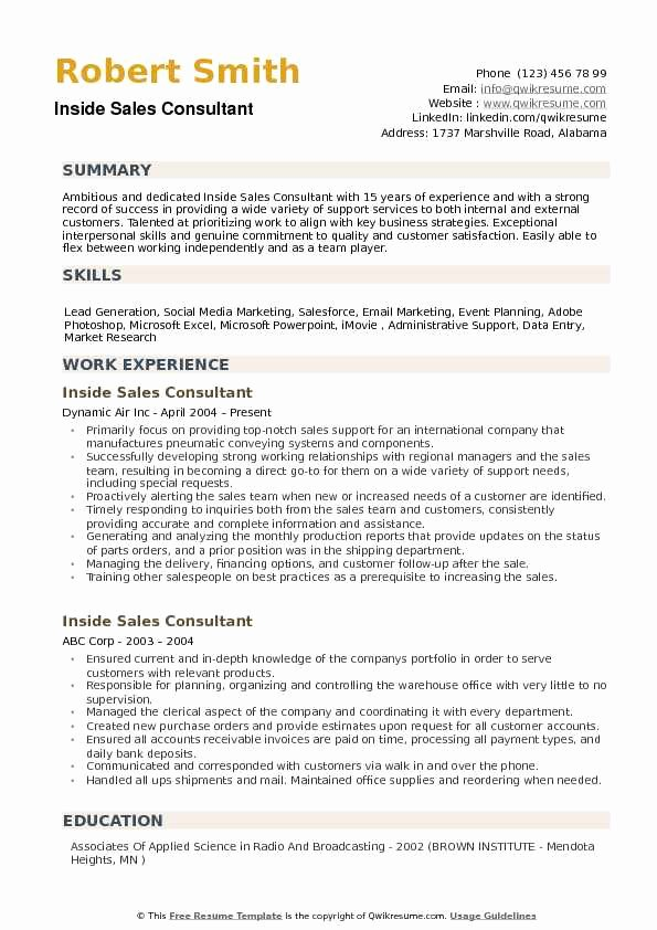 Inside Sales Consultant Resume Samples