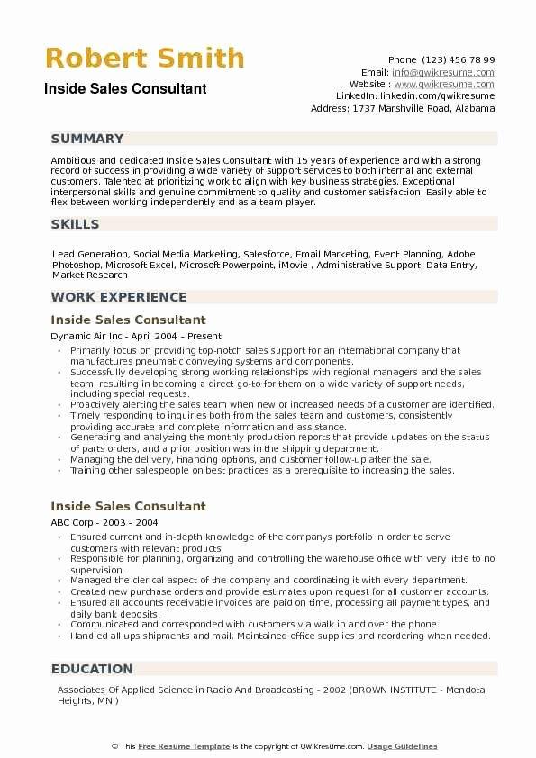 Inside Sales Consultant Resume Samples