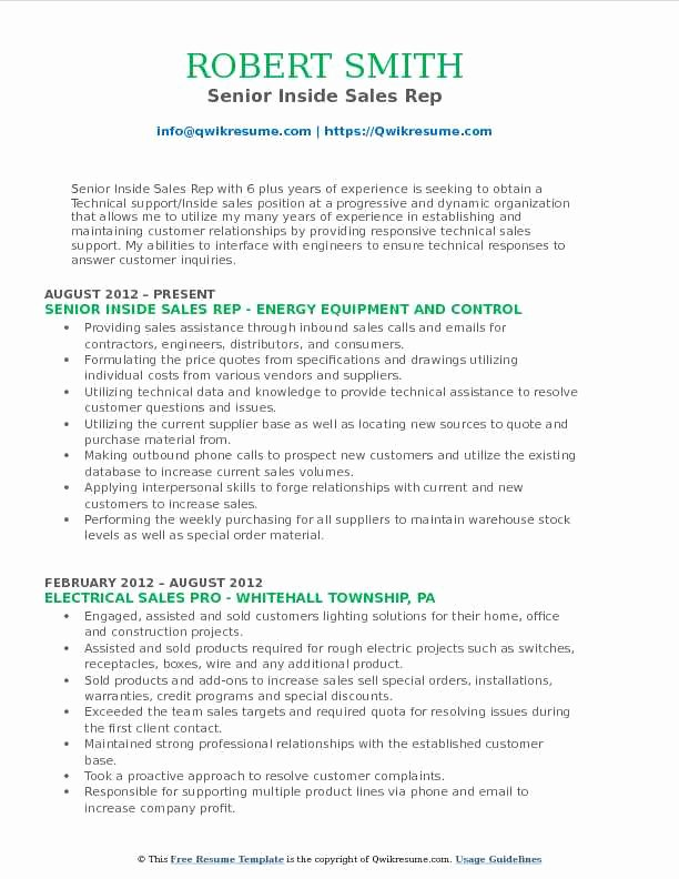 Inside Sales Rep Resume Samples