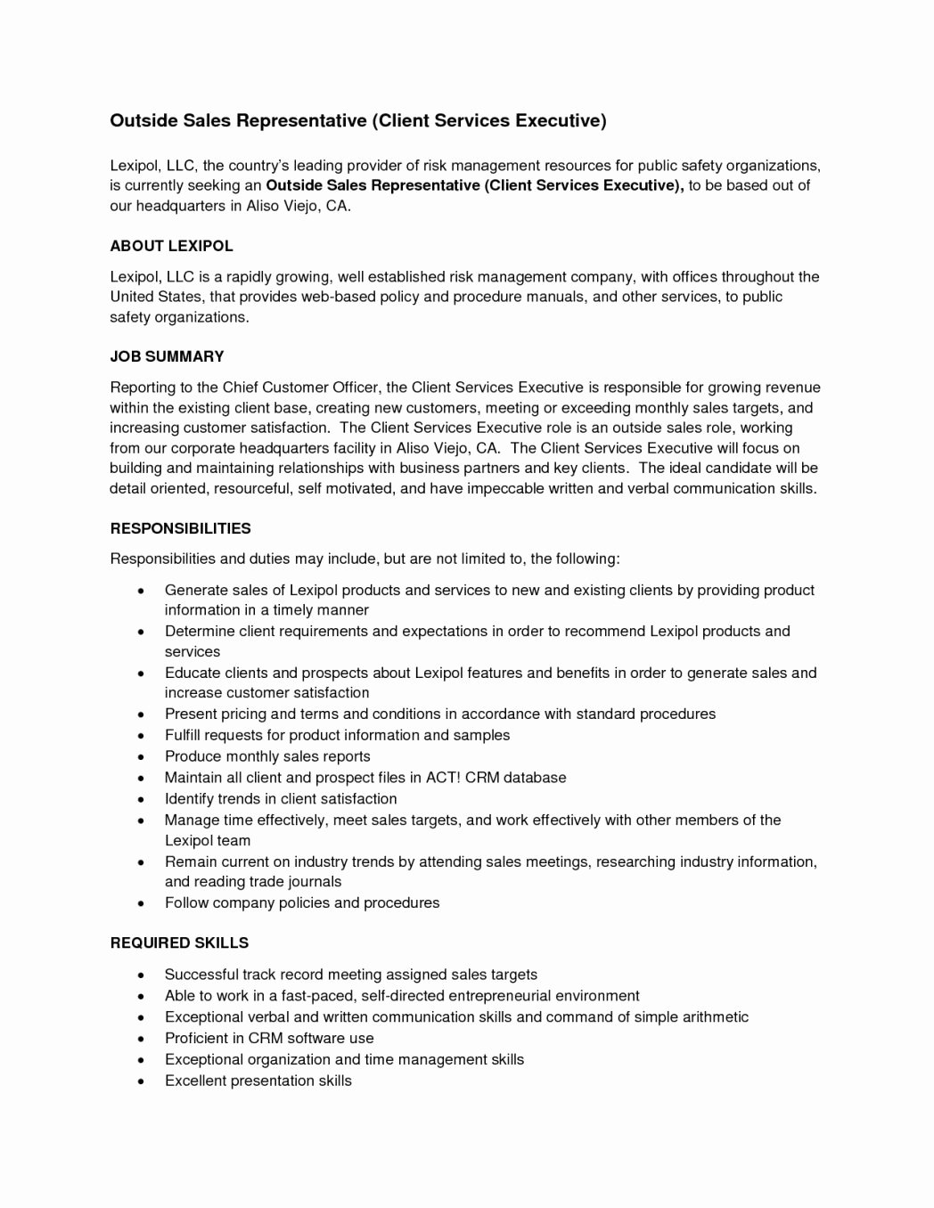 Inside Sales Rep Resume Skills