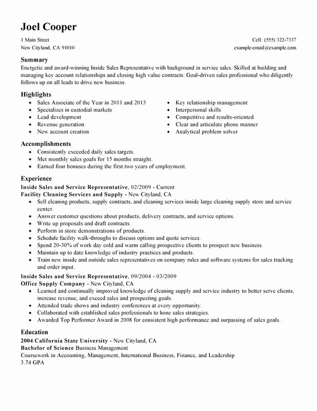 Inside Sales Representative Resume Best Resume Gallery