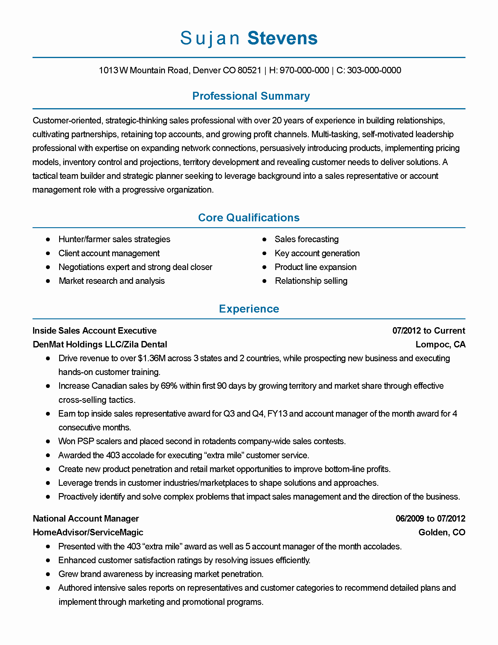 Inside Sales Resume Keywords Sidemcicek