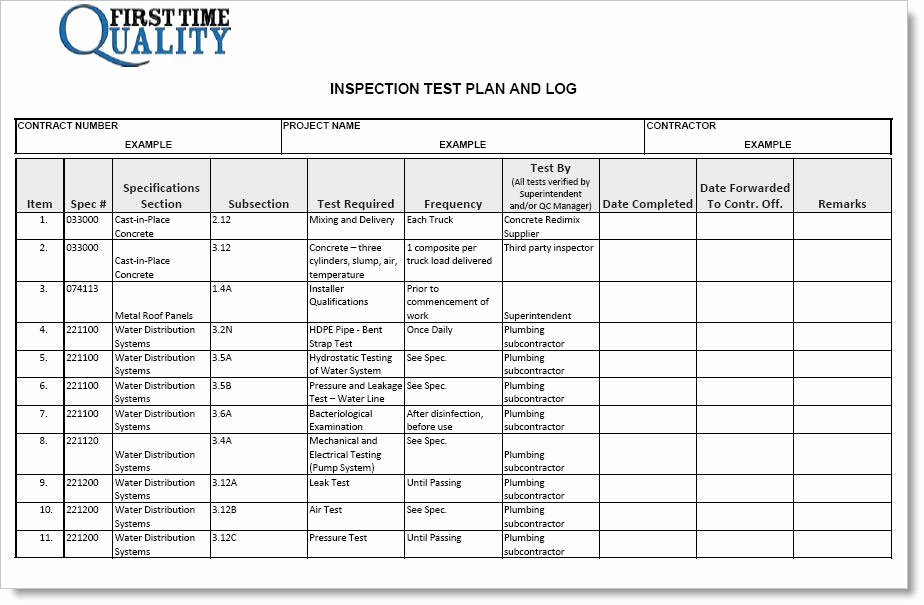 Inspection Test Plan form Pleted Example