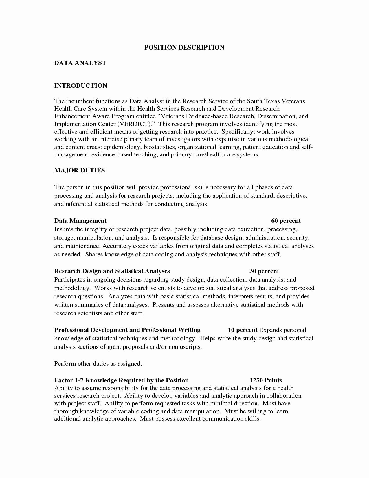 inspiration resume for data analyst position about big data analyst job description