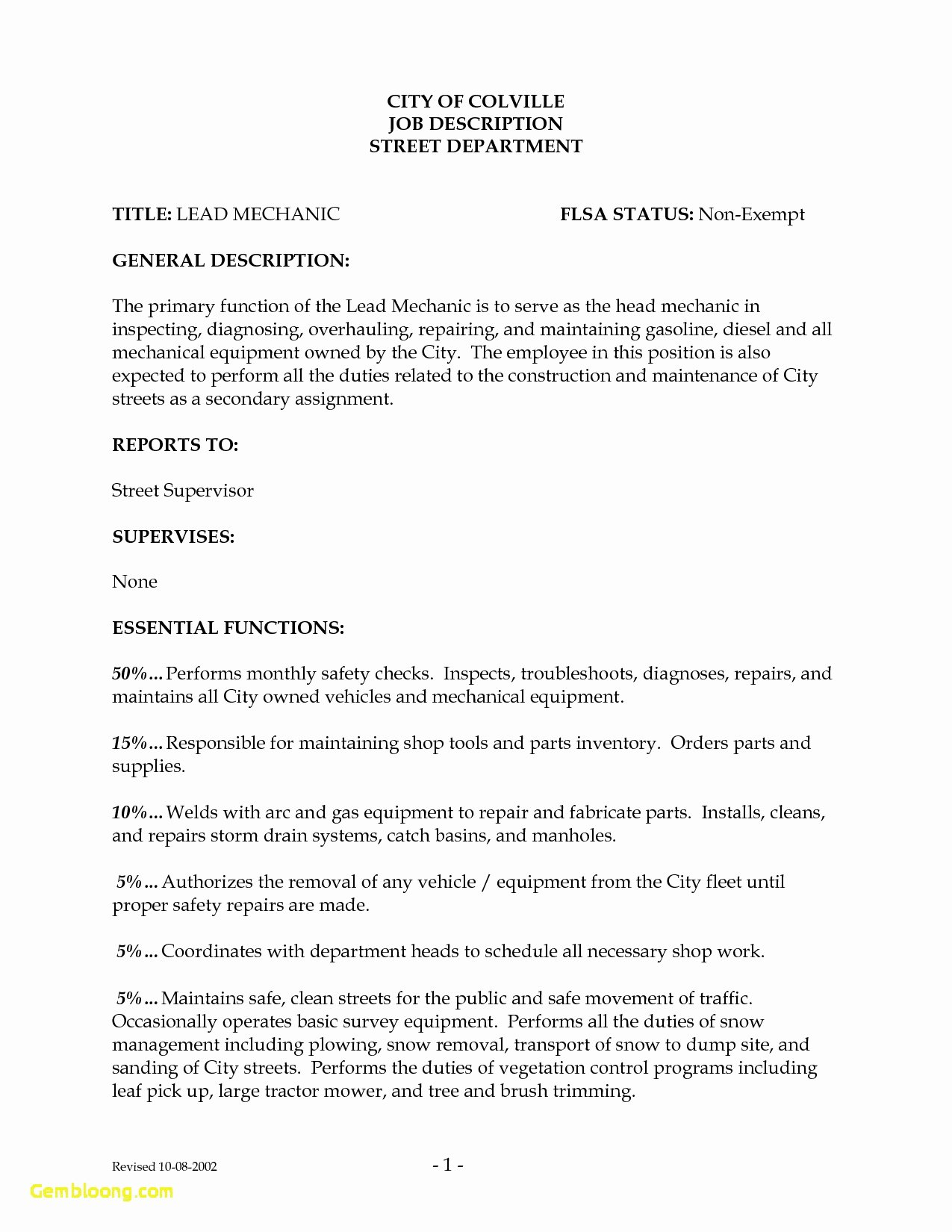 Inspirational Diesel Mechanic Job Description Resume