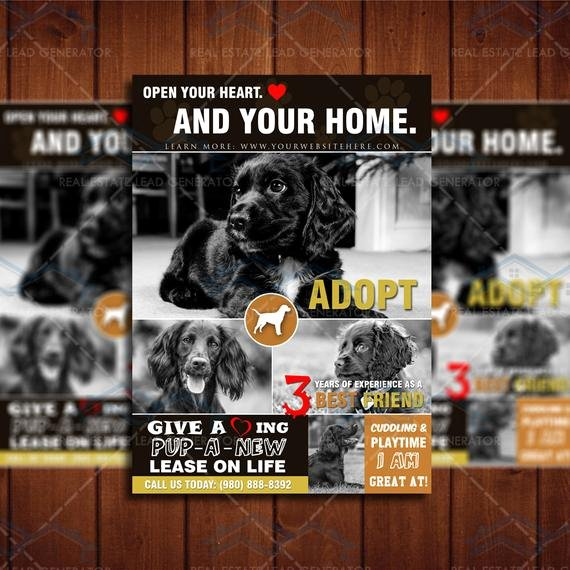 Instant Download 5x7 Dog Adoption Flyer by