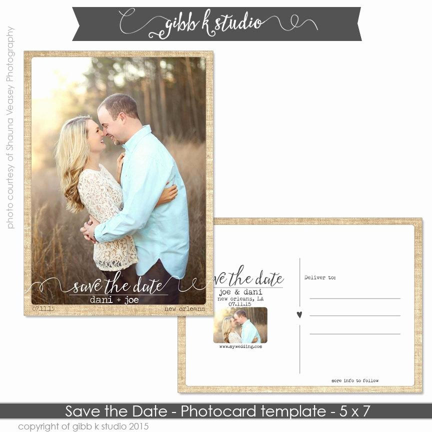 Instant Download Save the Date Postcard with Fine Burlap