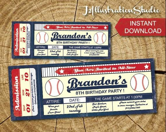 Instant Downlod Baseball Ticket Invitation Printable Kid