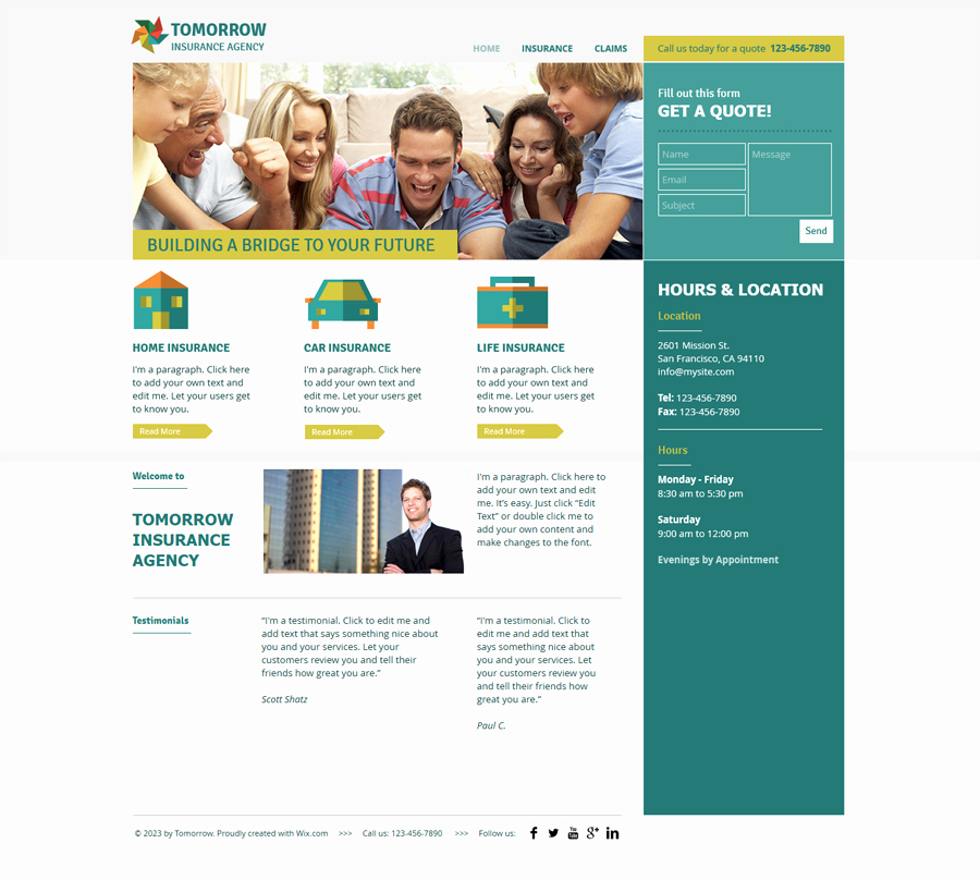 Insurance Agency – Wix Web Template