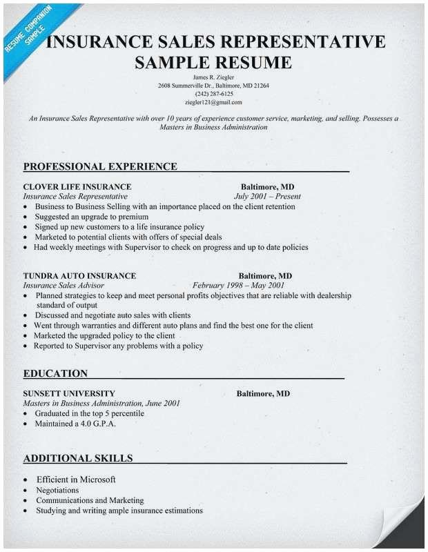 Insurance Agent Resume Sample Best Sample Sales Resumes