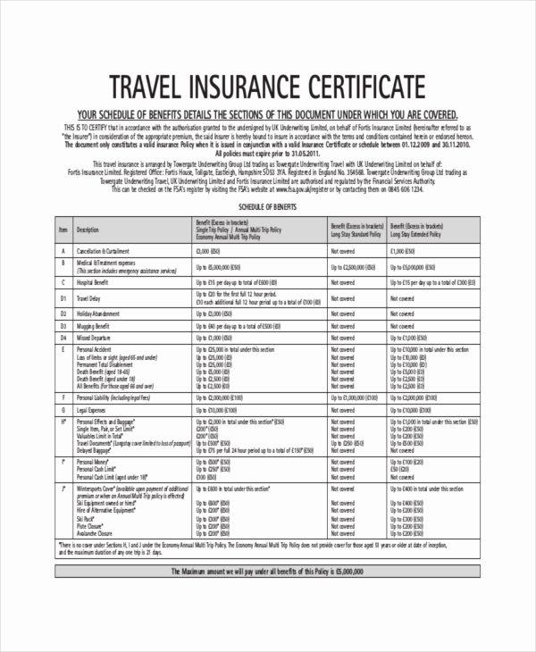 Insurance Certificate Template – 10 Free Word Pdf