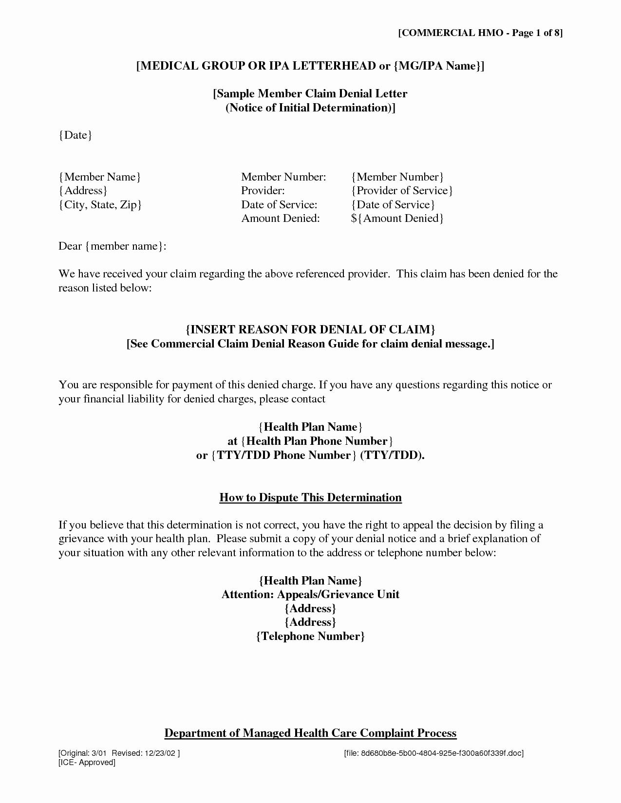 Insurance Denial Letter Free Printable Documents