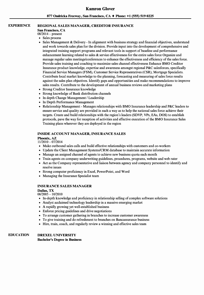 Insurance Sales Manager Resume Samples