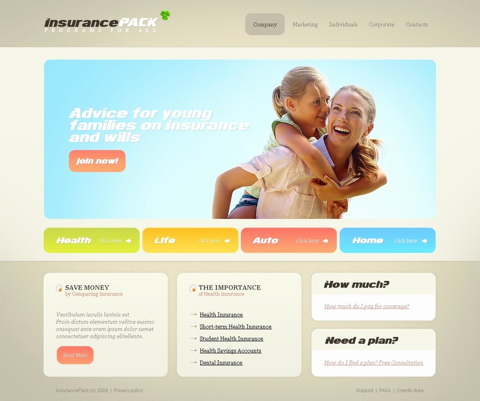 Insurance Website Template Web Design Templates Website