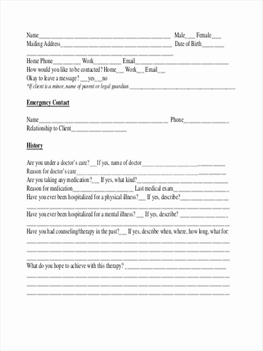 Intake assessment form