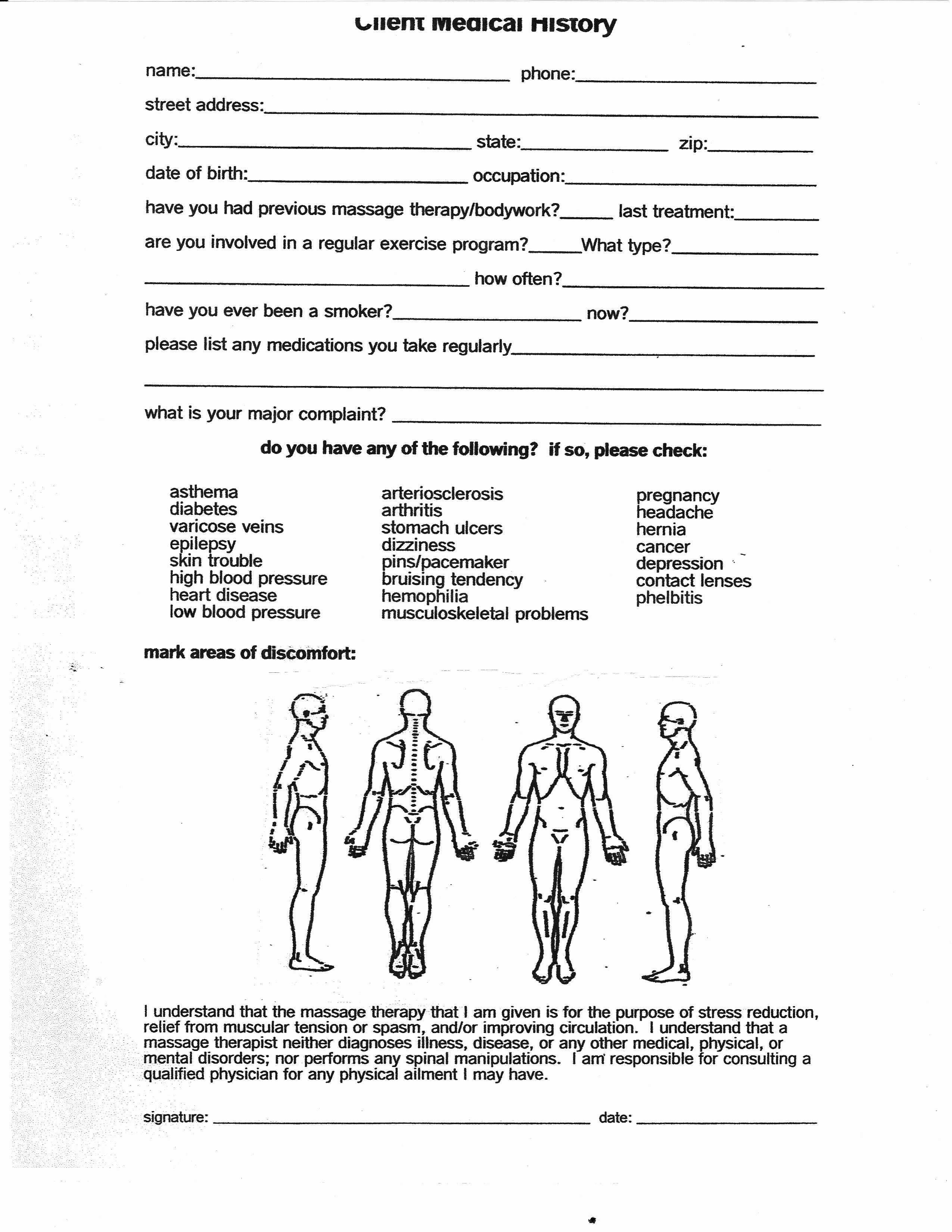 Intake form for Massage therapy