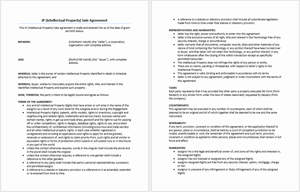 Intellectual Property Sale Agreement Template Microsoft